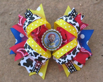 TOY STORY Jessie Hair Bow Boutique Style Bottle Cap Hair Bow with Cow Print and Red Sparkly Tulle