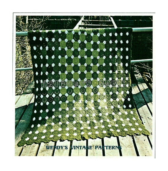 Instant Download PDF Crochet Pattern to make a Daisy Chain Spring Flower Garden Afghan Blanket Sofa Throw Picnic Rug Bed Cover Bedspread