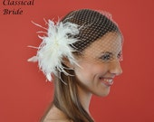"""Bandeau 801 -- VEIL SET w/ PEARL and Feather Fascinator Hair Clip & Ivory or White 9"""" Birdcage Blusher Veil for bridal wedding"""