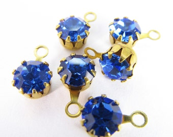 20 Vintage Swarovski Sapphire 17ss 4mm Crystal Drops Charms Cr57