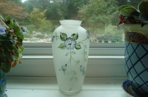 Handpainted Blue Floral Vase - Shabby Chic Decor