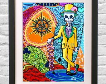 El Catrin Day of the Dead Skeleton Art Print. Trippy Masonic Psychedelic Decor Dia Los Muertos Best Man Gift for him