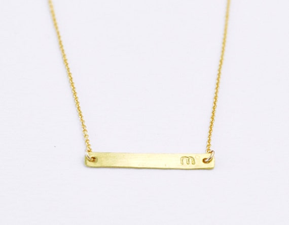 RESERVED LISTING nola - Brass Initial bar - custom lowercase letter gold filled necklace - minimal jewelry christmas gift for her