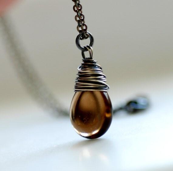 Simple Pendant Necklace, Smokey Topaz Glass Necklace, Glass Pendant, Oxidized Silver Necklace - Whiskey