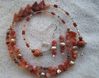 TERRACOTTA Necklace With Carnelian Chips, Opal, Agate, Coral, Topaz, Freshwater Pearls, Swarovski Crystals, Wood & Sterling Silver OOAK