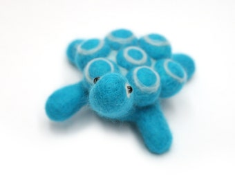 SALE Blue Turtle Needle Felt Animal Sculpture Pin Cushion Handmade With Love Out Of Wool With Glass Bead Eyes Gift Under 30 -  READY To SHIP