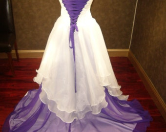 Corset Fantasy Fairy Wedding Dress in Ivory and Purple Custom Made Perfect for Fantasy Wedding