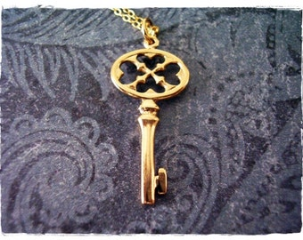 Bronze Oval Heart Cutout Clover Key Necklace - Bronze Oval Heart Cutout Clover Key Charm on a 14kt Gold Filled Cable Chain or Charm Only