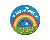 Vintage Lithographed Tin Badge - 'Happy Days'