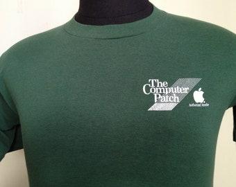 80s Vintage Apple Computer Patch T-Shirt - MEDIUM 38-40
