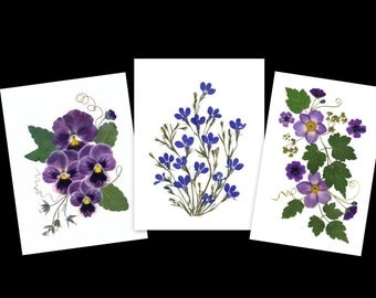 Notecards - set of 6 pressed flower  cards - #024