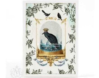 Halloween card, Gothic Halloween, Halloween crow, Halloween holiday card, Victorian Halloween, Halloween cloche, Halloween decor, blank card