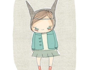 Kids Modern Art, Girl Bunny Rabbit With a Pastel Green Coat and Linen Background A4 or 8x10