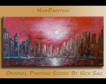 "Modern City Landscape Futuristic Oil painting on canvas Red  Moonlit sky -Nightly City- By Nick Sag 40"" x 20"""