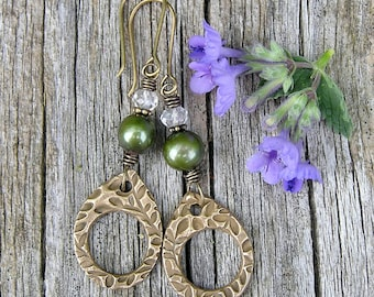 green freshwater pearl, rock crystal quartz, and artisan bronze gemstone earrings. dangle earrings. bohemian style. boho chic. one of a kind