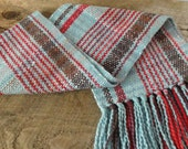 Handwoven Scarf in Red, Blue and Brown
