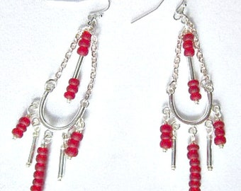 Chandelier Earrings Red Glass Seed Bead and Silver  ID 216
