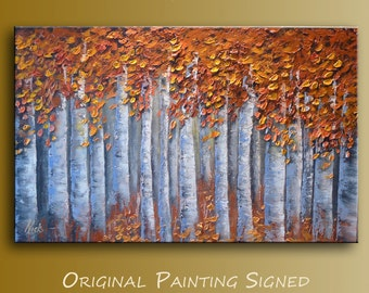 "Modern Impressionist Impasto painting Dream Birch Forest  Oil on canvas -Autumn Forest- By Nick Sag 32"" x 20"""