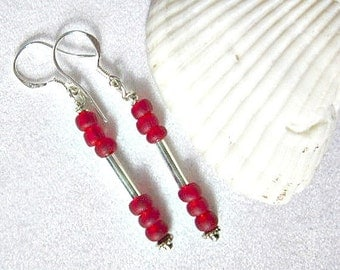 Red Seed Bead Earrings and Silver Tube ID 213