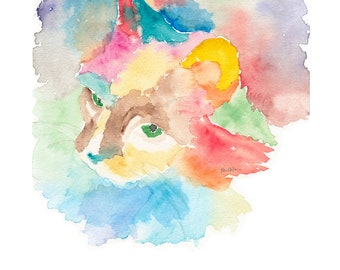 watercolor giclee print of a cat of many colors