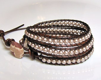 Reduced! Creamy Beige Pearl and Brown Leather Wrap Bracelet