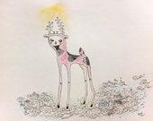 original drawing - deer on cloud