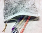 Triangle original  hand drawing print bag, zipper bag, line drawing print on cotton,handmade by there is art on etsy