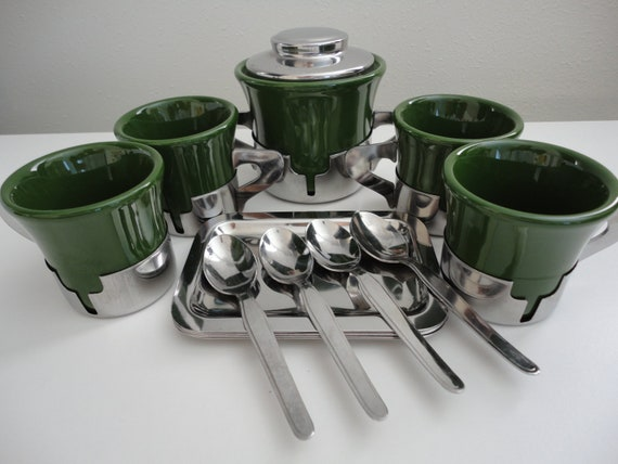 Italian Art Deco Espresso or Demitass set by Inoxriv from the 1960's
