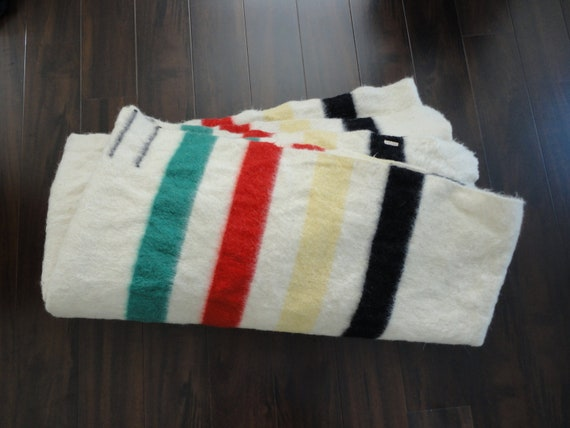 GIANT Hudsons Bay Style Three Point Blanket in Red, Green, Yellow, Black and Cream 2 Blankets for 1 Price