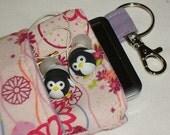Mod Floral Padded Linen IPod/IPhone or Camera Case -- w/Lobster Hook & Lined Pocket
