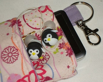 Mod Floral Padded Linen IPod/IPhone or Camera Case -- w/Lobster Hook & Lined Pocket