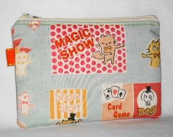 Kawaii Cat and Dog Magic Show Zippered Pouch -- Blue (Camera / Cell Phone Case / Coin Purse)