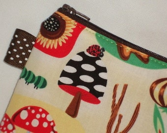 Kawaii Mushrooms in the Forest Zippered Pouch -- White