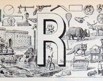 Letter R French Dictionary Alphabet Chart Paris France To Frame
