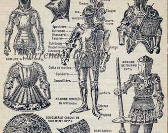 Brave Knights Armor Helmet  Horse Armour French Dictionary Paris France Arms Chart To Frame