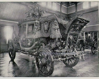 Royal Carriage Charles X Versailles France 1890 Vintage Rotogravure Black & White Victorian Photo Illustration To Frame