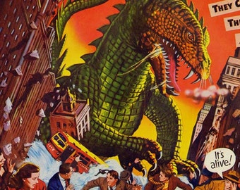 Beast From 20,000 Fathoms 1950s Sci Fi Horror Movie Poster Full Color Advertisement Lithograph To Frame Science Fiction