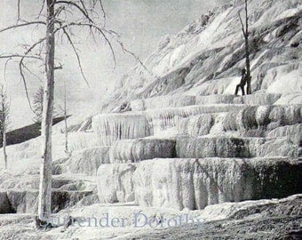 Yellowstone Park Pulpit Terrace Wyoming USA 1890 Vintage Victorian Native American Rotogravure Photo Illustration For Framing
