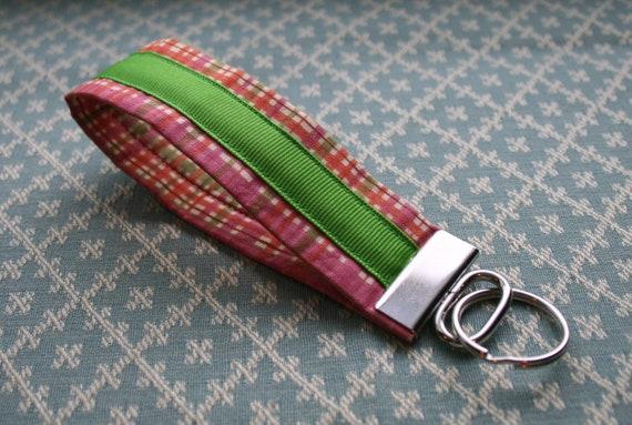 Preppy Plaid Fabric Wrist KeyChain, Wristloop Key Chain