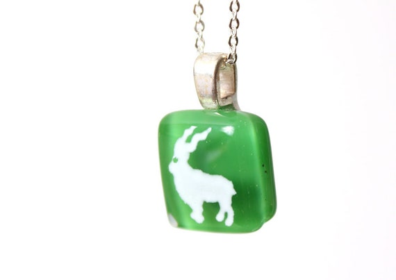 Markhor Pendant in Kelly Green - Fused Glass Mini Pendant by Happy Owl Glassworks