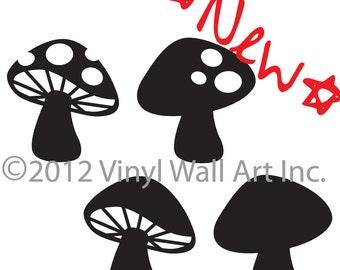 Woodland Mushrooms Set of 4 vinyl decals size X-LARGE