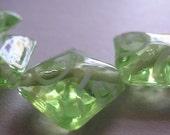 Handmade Lampwork Yellow Green Beads Glass Diamonds Ericabeads (4)