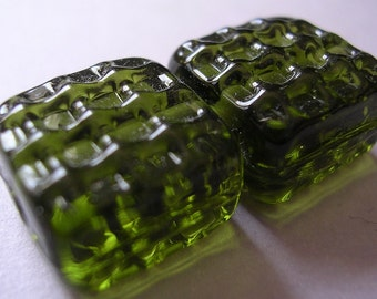 Lampwork Glass Green Beads Handmade Olive Green Waffle Texture Tiles Ericabeads (2)
