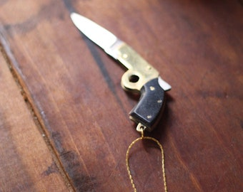 Gun Pocket Knife Necklace Brass Pistol with Black Bakelite Handle