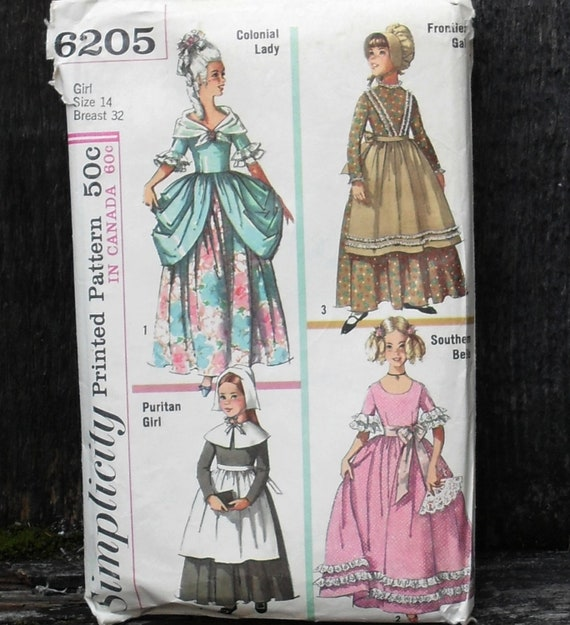 Simplicity 6205 period costume pattern / Colonial girl, Prairie, Frontier Puritan and Southern Belle xs / 32 Bust