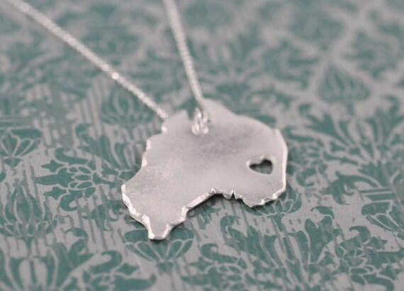 Australia Necklace - Silver - Australia Country Necklace Aussie Jewelry Map Jewelry Country Jewelry Country Love