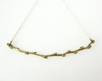 Budding Branch Necklace,  Bronze Twig Necklace