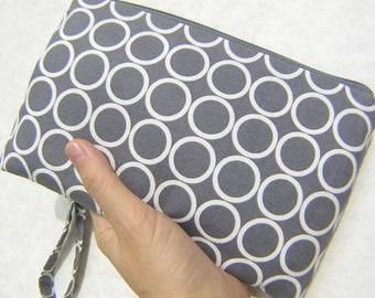 Wedding Clutch 2 pockets,medium,grey,dots, wristlet, cotton - Circle in Pewter