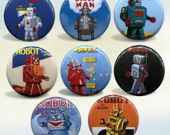 Retro Robots set of 8 magnets
