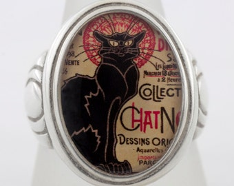 Chat Noir Vintage Black Cat Sterling or Bronze Ring (Sizes 5-14 w/ half sizes)